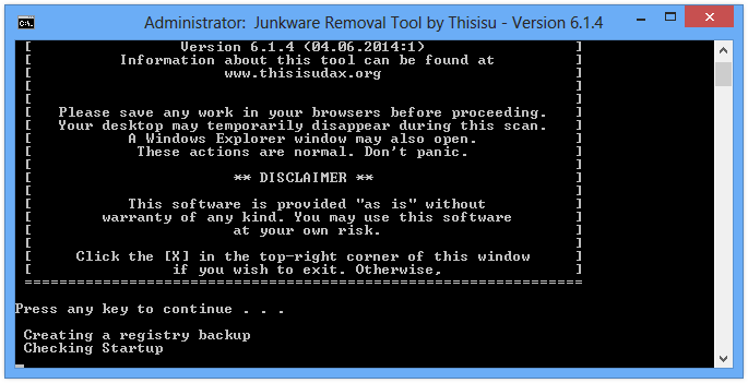 How to remove plugins button with Junkware Removal Tool