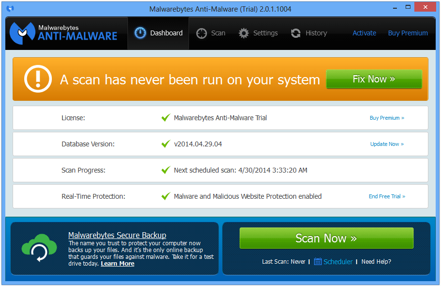 Remove Yes Searches with malwarebytes anti-malware